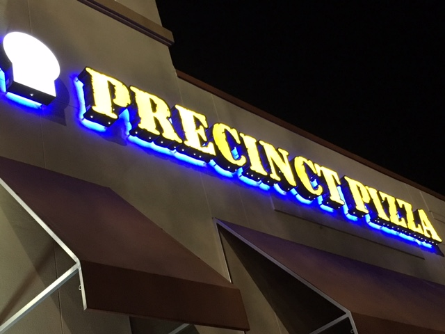 Halo Lit Channel Letters For Precinct Pizza – Tampa, FL