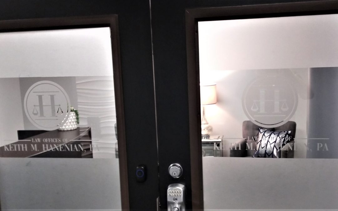 Tampa, FL- Interior Etched Lobby Glass, Insurance Office Doors